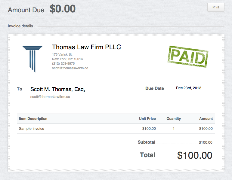 Payment Thomas Law Firm Pllc New York City